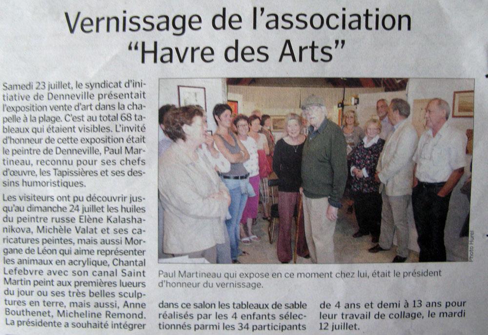 Статья в местной газете о выставке в Денвиле. Нормандия