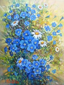 Букет с цветами лен.х.м. 30х40 2016г.