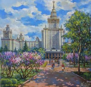 МГУ.Весна.Сирень. х.м.32х32 2020г.