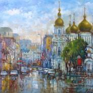 Москва. Сухаревская площадь.х.м. 30х40 2021г.