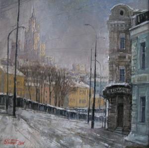 Москва. Вид на Овчинниковскую наб. х.м. 40х40 2014г