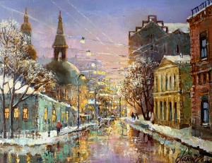 Москва.Январь.х.м. 35х45 2021г.