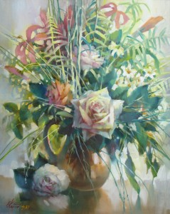 Натюрморт с белой розой х.м. 50х60 2017Г