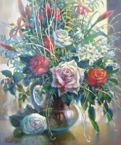 Натюрморт с белой розой холст.м. 50х60 2016г
