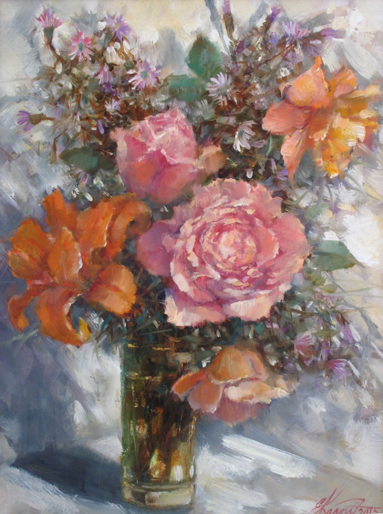 Натюрморт с розами х.м. 30х40