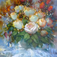 Натюрморт с розами. х.м. 50х60 2019г.