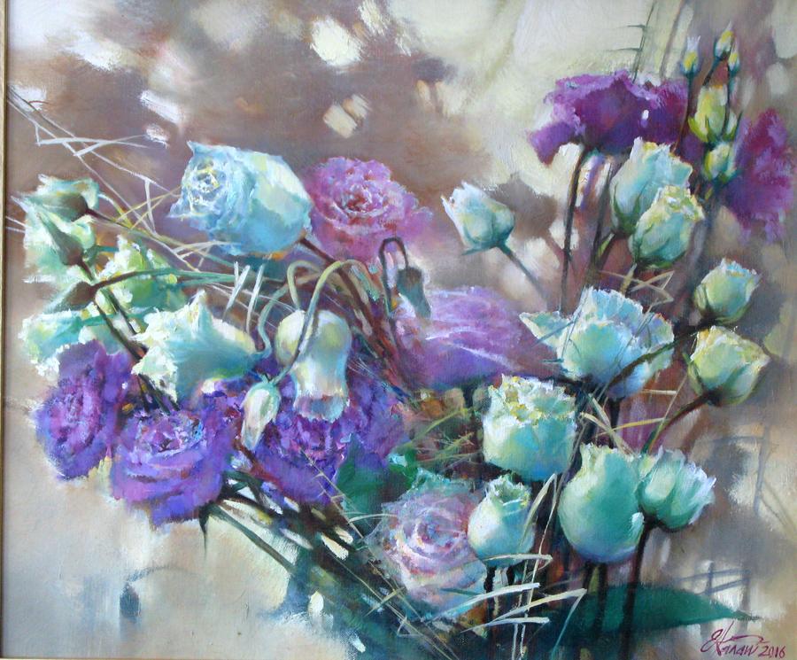 Ноктюрн с розами. х.м. 50х60 2016г