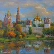 Новодевичий монастырь в октябре.х.м. 35х35 2020г.