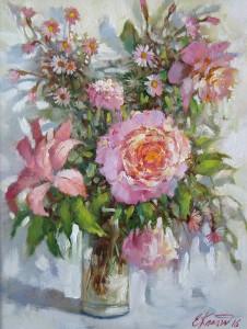 Розовый букет. х.м. 30х40 2016г