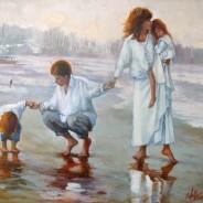Семья на прогулке. х.м. 35х40
