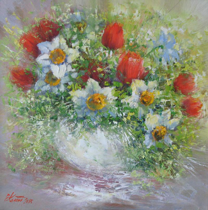 Весенний натюрморт с нарцисами и тюльпанами. х.м. 50х50 2015г