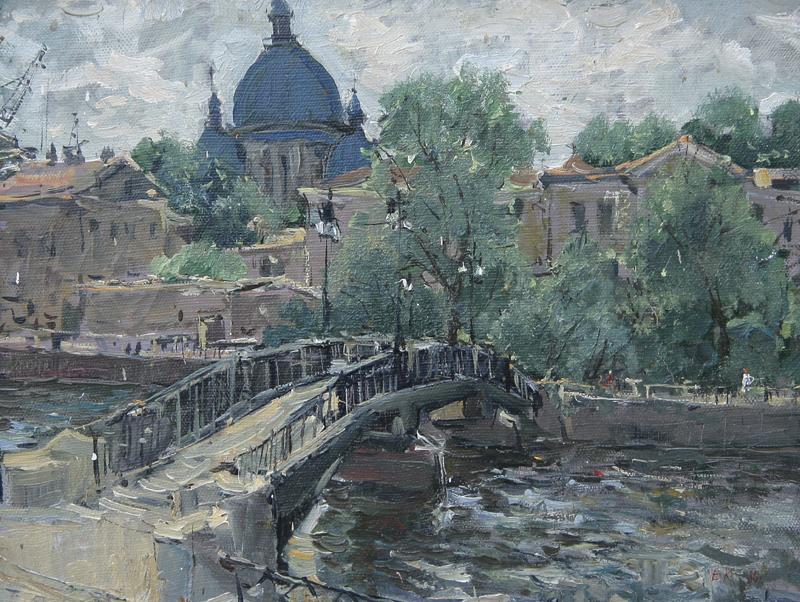Вид на Троицкий собор. Санк-Петербург.х.м. 35х45