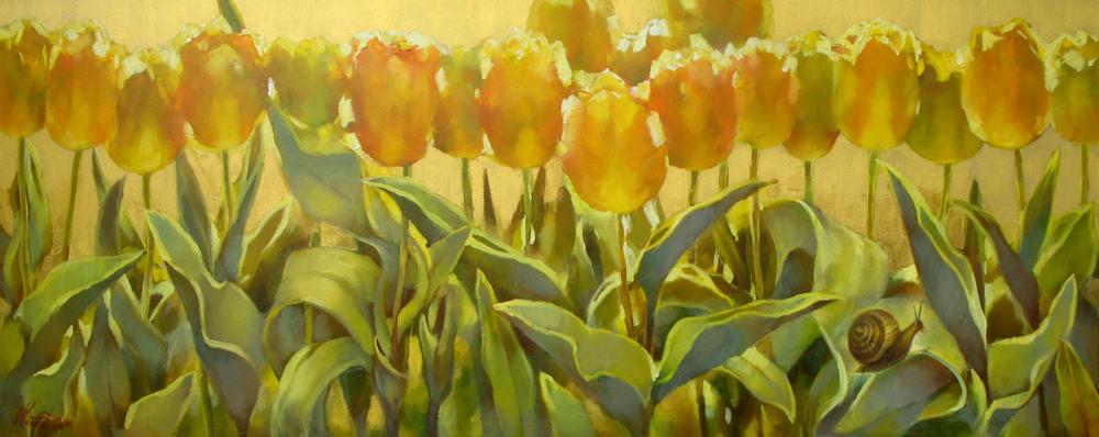 Желтые тюльпаны х.м. 50х130  2018г.