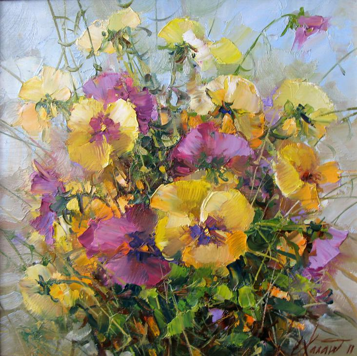 Букет с анютками. 30х30 х.м.2012г.|Bouquet with Annie. 30x30 canvas, oil. 2012