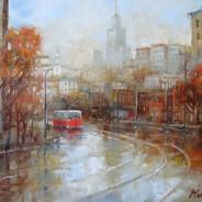 Красный трамвай. Москва. 40х50 х.м. 2014г.