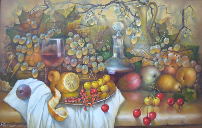 Натюрморт с фруктами. х.м. 80х50 .