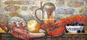 Натюрморт с крабом и омаром. х.м 75х30