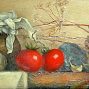 Натюрморт с помидорами. х.м 80х25 .