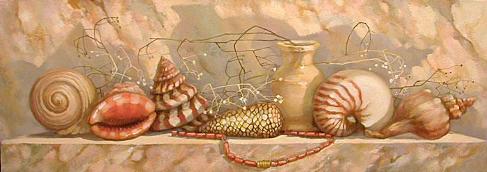 Натюрморт с ракушками и коралловыми бусами х.м. 80х27