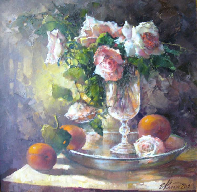 Натюрморт с розами и персиками. х.м. 50х50