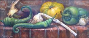 натюрморт с зелеными перцами . 19х44 х.м 2