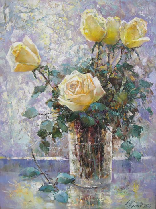 Натюрморт с желтыми розами. х.м.50х70