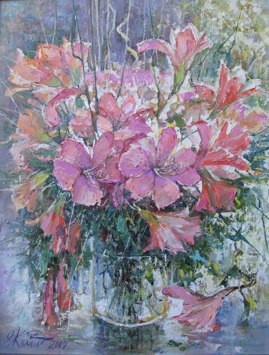 Розовые лилии.